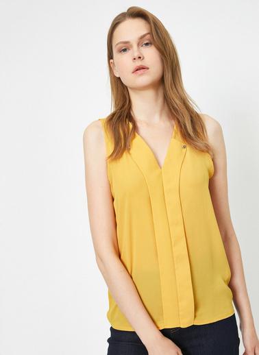 Koton Yaka Detayli Bluz Sarı